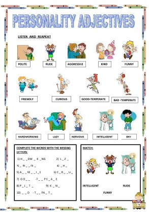 personality adjectives pdf